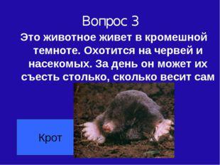 Вопрос 3 Это животное живет в кромешной темноте. Охотится на червей и насеком