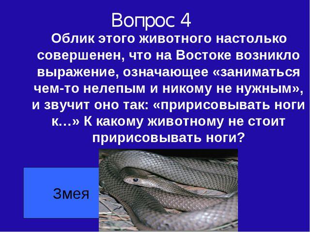 Вопрос 4 Облик этого животного настолько совершенен, что на Востоке возникло...