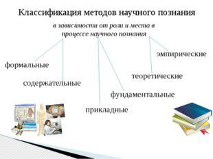 Классификация методов научного познания в зависимости от роли и места в проце