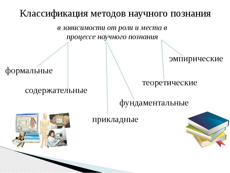 Классификация методов научного познания в зависимости от роли и места в проце...