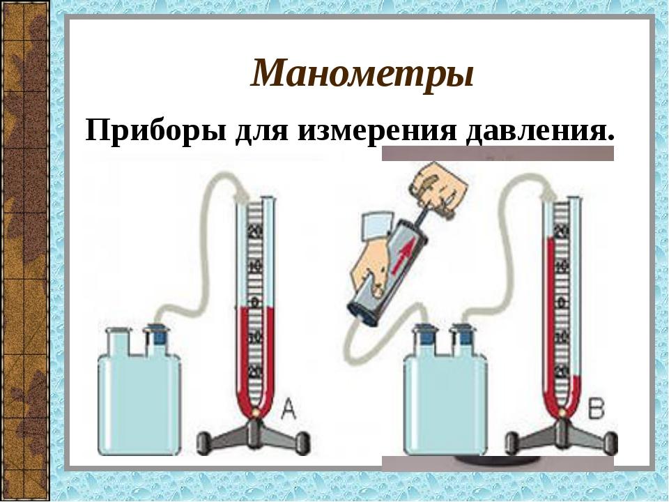 Манометры Приборы для измерения давления.