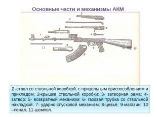Основные части и механизмы АКМ 1-ствол со ствольной коробкой, с прицельным п