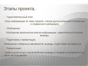 Этапы проекта. Подготовительный этап: Сбор информации по теме проекта, чтение