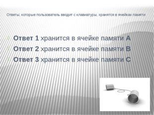 Ответы, которые пользователь вводит с клавиатуры, хранятся в ячейках памяти О