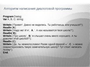 Алгоритм написания диалоговой программы Program Dialog; Var A, B, C: string;