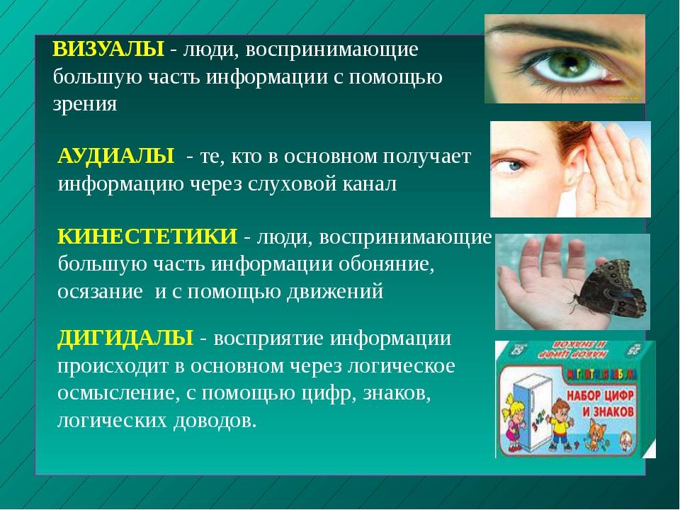 ВИЗУАЛЫ - люди, воспринимающие большую часть информации с помощью зрения АУДИ...