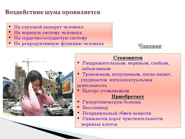 На слуховой аппарат человека На нервную систему человека На сердечно-сосудис...