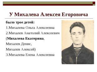 У Михалева Алексея Егоровича было трое детей: 1.Михалева Ольга Алексеевна 2.М