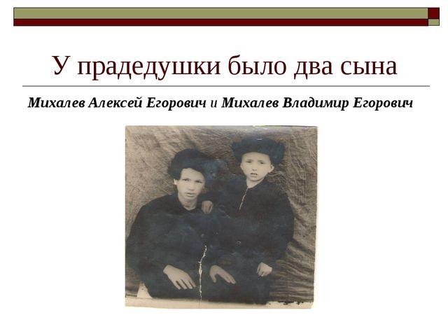 У прадедушки было два сына Михалев Алексей Егорович и Михалев Владимир Егорович