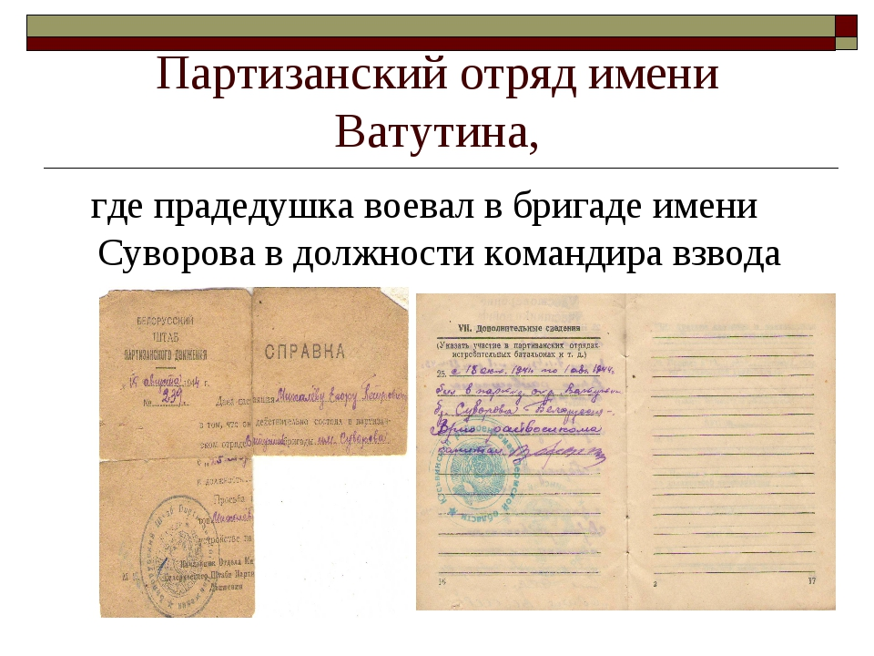 Партизанский отряд имени Ватутина, где прадедушка воевал в бригаде имени Суво...