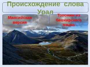 Происхождение слова Урал Мансийская версия Топоним из башкирского языка