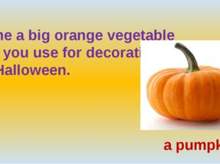 Name a big orange vegetable  that you use for decoration  on Halloween. a pu