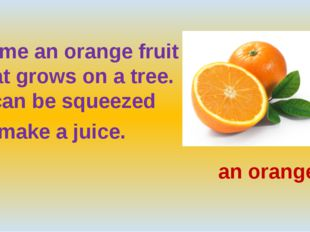 Name an orange fruit that grows on a tree. It can be squeezed to make a juic
