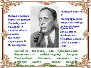 Алеша Толстой вырос на хуторе Сосновка под Самарой, в имении своего отчима, з