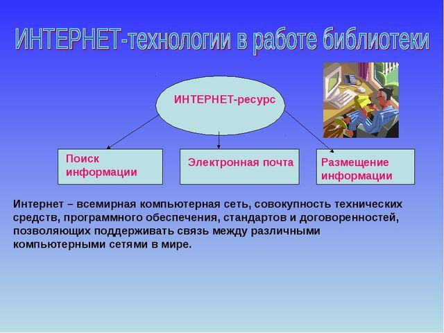 Интернет – всемирная компьютерная сеть, совокупность технических средств, про...