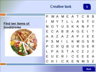 Creative task Find ten items of food/drinks PWAMEATCRB IMYTLLA