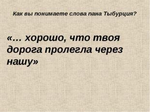 «… хорошо, что твоя дорога пролегла через нашу» Как вы понимаете слова пана Т
