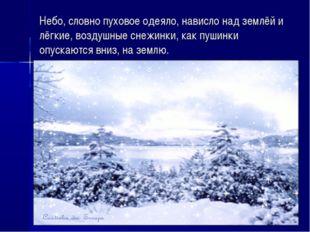 Небо, словно пуховое одеяло, нависло над землёй и лёгкие, воздушные снежинки,