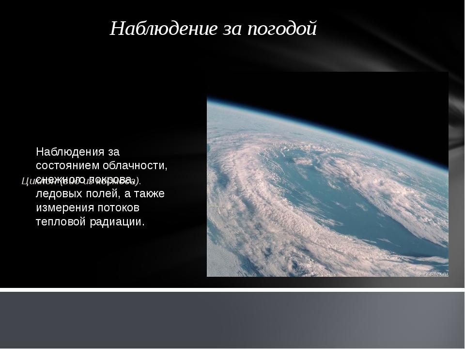 Наблюдение за погодой Циклон (вид из космоса). Наблюдения за состоянием облач...