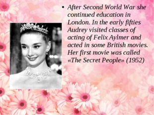 After Second World War she continued education in London. In the early fiftie