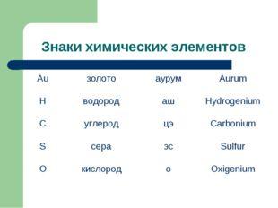 Знаки химических элементов АuзолотоаурумAurum HводородашHydrogenium Cу
