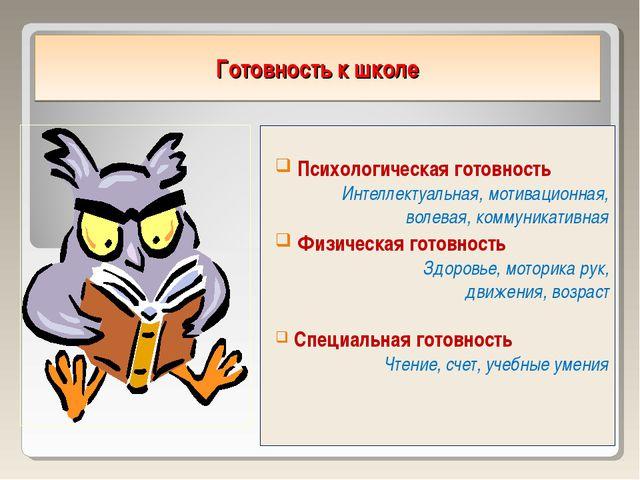 Готовность к школе Психологическая готовность Интеллектуальная, мотивационная...