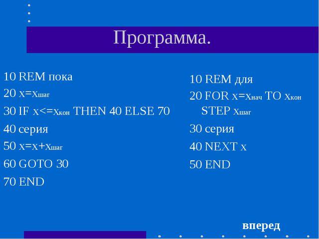 Программа. 10 REM пока 20 х=хшаг 30 IF х