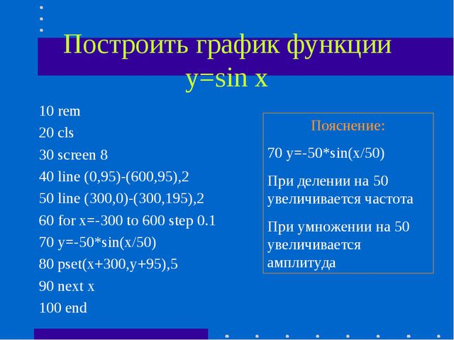 Построить график функции у=sin x 10 rem 20 cls 30 screen 8 40 line (0,95)-(60...