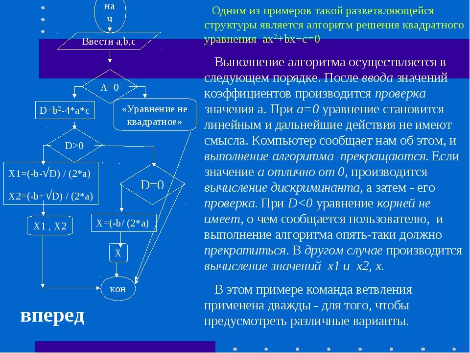 нач Ввести a,b,c A=0 D=b2-4*a*c «Уравнение не квадратное» D>0 X1=(-b-√D) / (2...