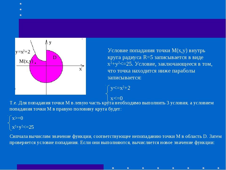 y=x2+2 M(x,y) D x y Условие попадания точки М(х,у) внутрь круга радиуса R=5 з...