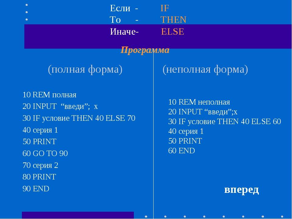"""Программа (полная форма) (неполная форма) 10 REM полная 20 INPUT """"введи""""; x 3..."""