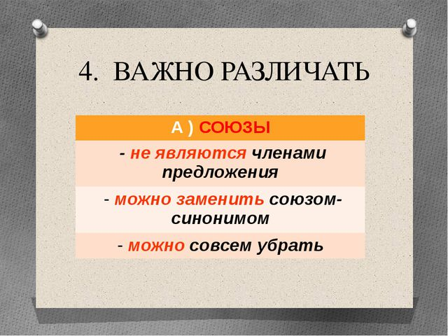 4. ВАЖНО РАЗЛИЧАТЬ А )СОЮЗЫ -не являютсячленами предложения -можно заменитьсо...