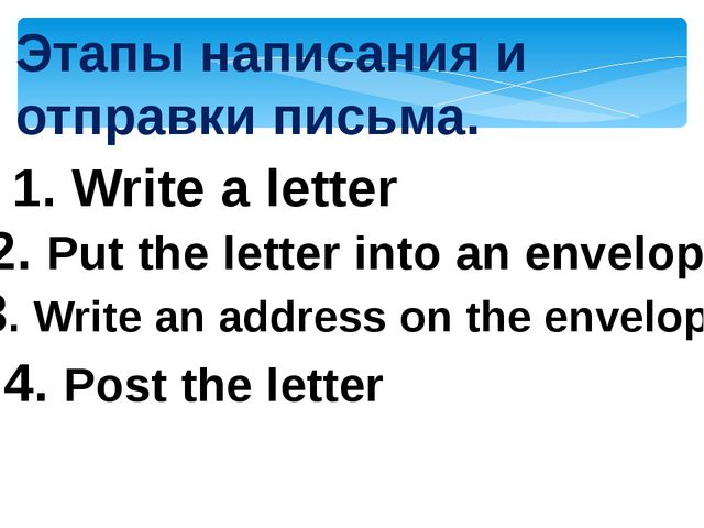 Этапы написания и отправки письма. 1. Write a letter 2. Put the letter into a...