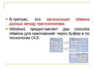 В-третьих, это организация обмена данных между приложениями. Windows предоста