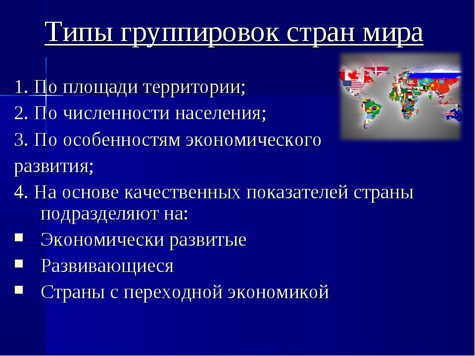 Типы группировок стран мира 1. По площади территории; 2. По численности насел...