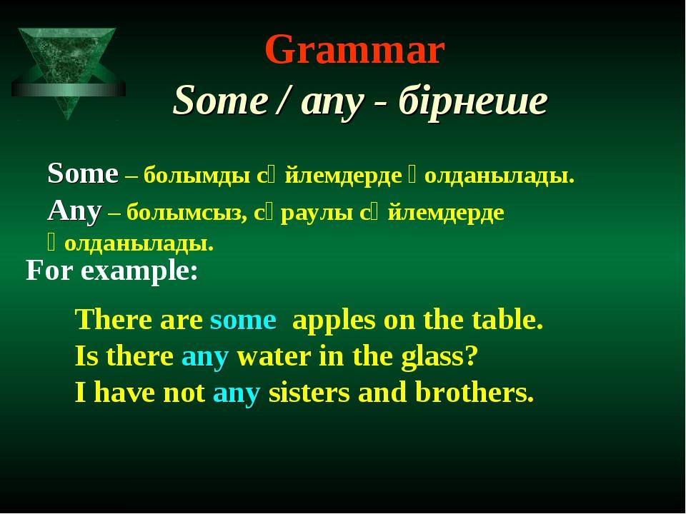 Grammar Some / any - бірнеше Some – болымды сөйлемдерде қолданылады. Any – бо...