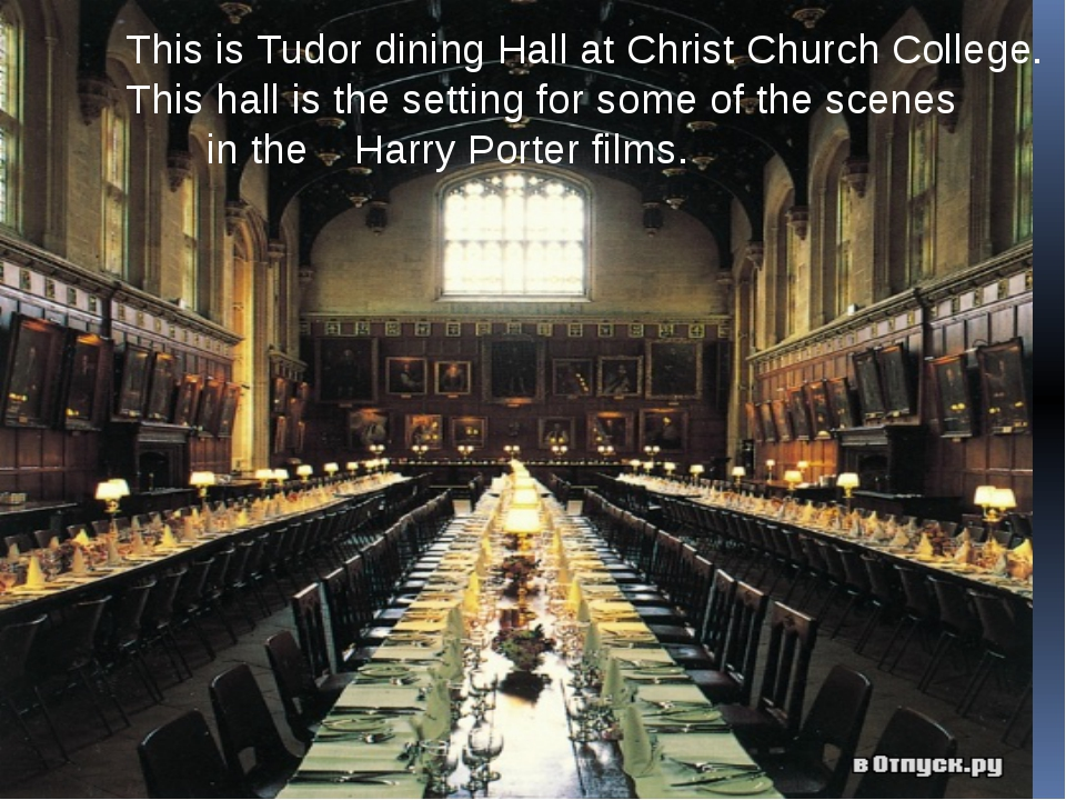 This is Tudor dining Hall at Christ Church College. This hall is the setting...