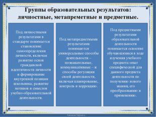 Группы образовательных результатов: личностные, метапреметные и предметные. П