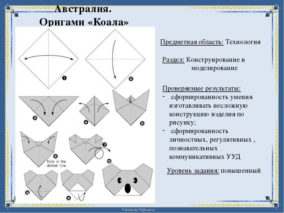 Австралия. Оригами «Коала» Предметная область: Технология Раздел: Конструиров...