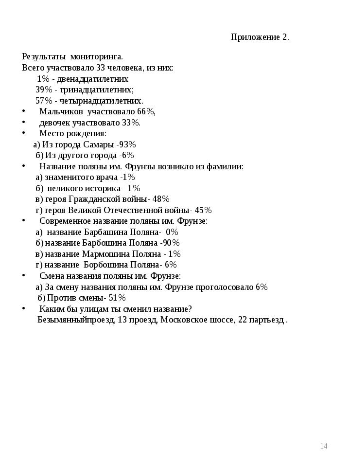 Приложение 2. Результаты мониторинга. Всего участвовало 33 человека, из них:...