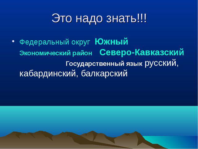 Это надо знать!!! Федеральный округ Южный Экономический район Северо-Кавказск...