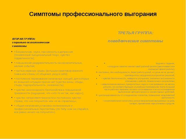 Симптомы профессионального выгорания  -ВТОРАЯ ГРУППА: социально-психологиче...