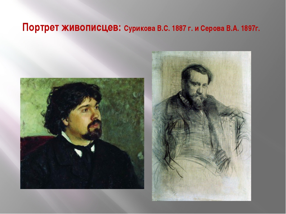 Портрет живописцев: Сурикова В.С. 1887 г. и Серова В.А. 1897г.