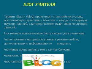 БЛОГ УЧИТЕЛЯ Термин «Блог» (blog) происходит от английского слова, обозначающ