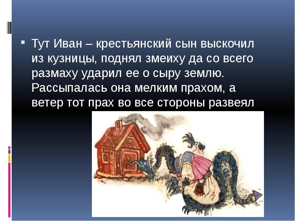 Тут Иван – крестьянский сын выскочил из кузницы, поднял змеиху да со всего р...