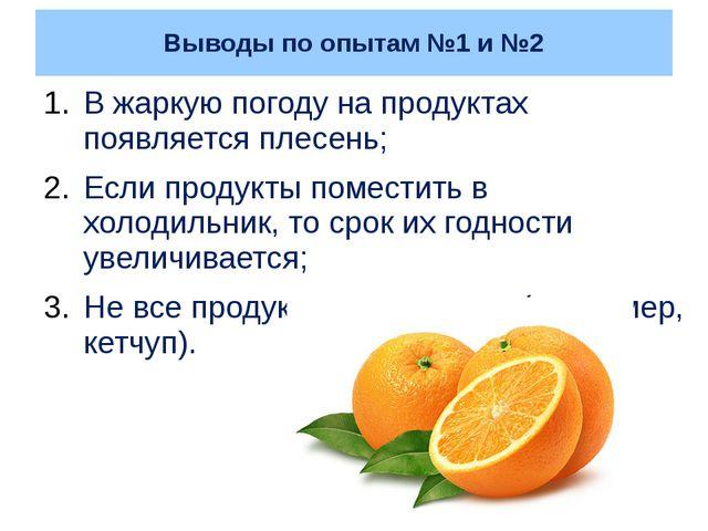 Выводы по опытам №1 и №2 В жаркую погоду на продуктах появляется плесень; Есл...