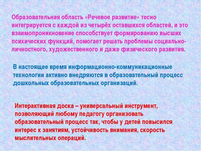 Образовательная область «Речевое развитие» тесно интегрируется с каждой из че...