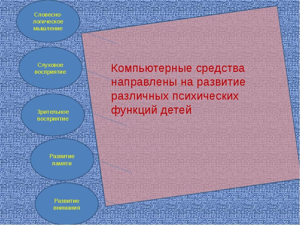 Компьютерные средства направлены на развитие различных психических функций д...