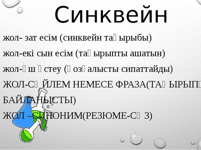Синквейн 1. жол- зат есім (синквейн тақырыбы) 2. жол-екі сын есім (тақырыпты...
