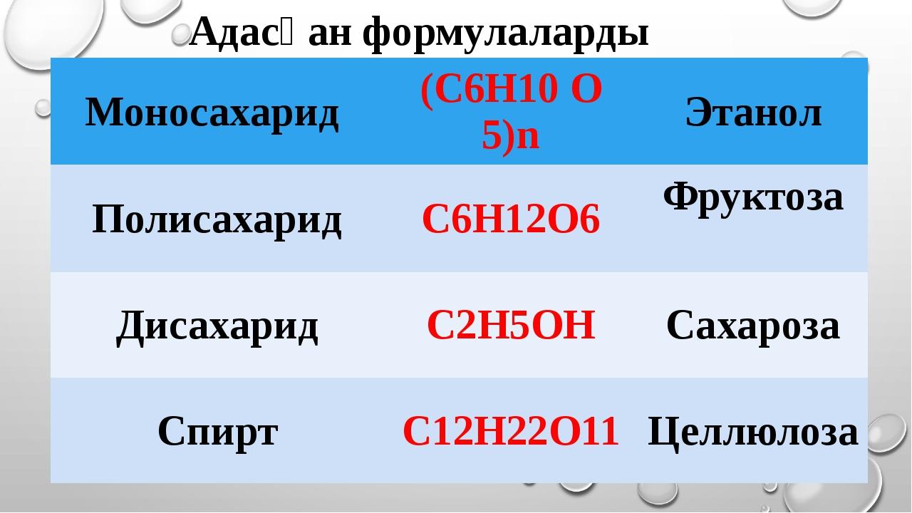 Адасқан формулаларды табыңдар Моносахарид (C6H10O5)n Этанол Полисахарид C6H12...